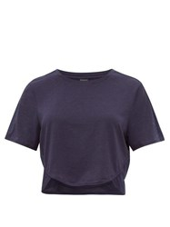 The Upside Sofia Technical Jersey Cropped T Shirt Navy
