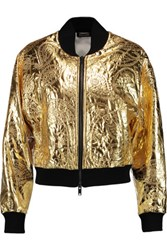 Dkny Metallic Embroidered Shell Bomber Jacket Gold