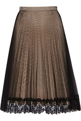 Christopher Kane Lace Trimmed Pleated Tulle Skirt Black