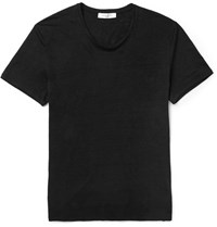 Sandro Slim Fit Slub Linen T Shirt Black