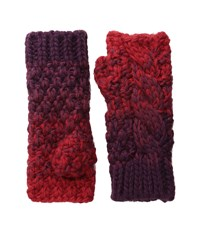 Michael Stars Seeded Ombre Fingerless Gloves Heart Extreme Cold Weather Gloves Red