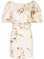 Shona Joy Belted Floral Pattern Dress White
