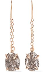 Melissa Joy Manning 14 Karat Gold Tourmalated Quartz Earrings One Size