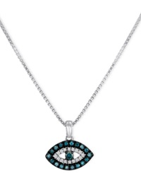 Macy's Sterling Silver Necklace Blue Diamond And White Diamond Accent Evil Eye Pendant 1 6 Ct. T.W.