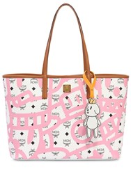 Mcm Medium Eddie King Faux Leather Tote Bag Pink