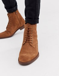 Zign Lace Up Boots In Tan Suede