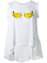 Muveil Banana Print Ruffled Tank Top White