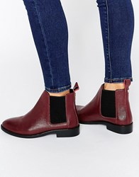 Faith Binky Leather Chelsea Boots Bordeaux Leather Red