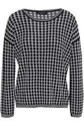 Piazza Sempione Woman Checked Wool Blend Jacquard Sweater Black