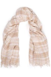 Chan Luu Woman Frayed Checked Cashmere And Silk Blend Gauze Scarf Beige