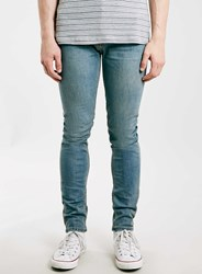 Topman Blue Light Wash Stretch Skinny Jeans