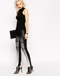 L.A.M.B. L.A.M.B Black And White Jacquard Trousers With Leather Blackmulti