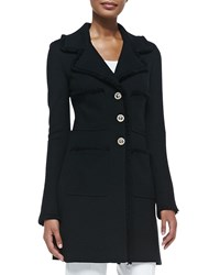 St. John Milano Pique Fit And Flare Topper Coat Black