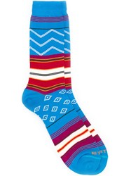 Etro Striped Mid Calf Socks Blue