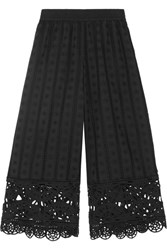 Opening Ceremony Cropped Broderie Anglaise Cotton Wide Leg Pants Black