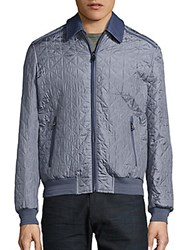 Brioni Quilted Silk Bomber Jacket Black Grey