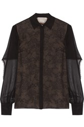 Jason Wu Cape Effect Silk Chiffon And Lace Blouse Black
