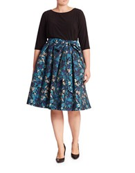 Adrianna Papell Floral Jacquard Flared Skirt Blue Multi