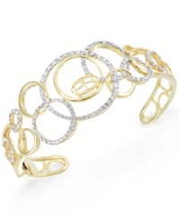 Sis By Simone I Smith Sis By Simone I. Smith Crystal Multi Circle Cuff Bracelet In 18K Gold Over Sterling Silver Yellow Gold