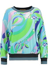 Emilio Pucci Printed Cotton Blend Terry Sweatshirt Green