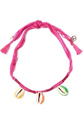 Aurelie Bidermann Takayama Braided Cord And Shell Necklace Magenta