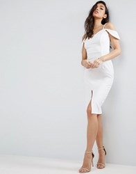 Asos Textured Off The Shoulder Keyhole Midi Dress Ivory Cream