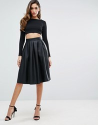 Forever Unique Faux Leather Pleated Skater Skirt Black