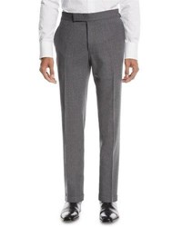 Tom Ford Fresco Textured Wool Trousers Gray