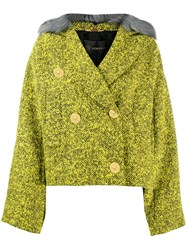 Versace Faux Fur Trim Tweed Jacket Green