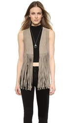 One By Lamarque Sonia Suede Fringe Vest Taupe