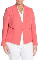 Plus Size Women's Halogen Zip Pocket Open Jacket Coral Sugar