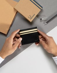 Fred Perry Leather Billfold Wallet With Coin Pocket In Black