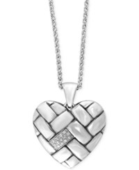 Effy Collection Effy Diamond Heart Pendant Necklace 1 10 Ct. T.W. In Sterling Silver