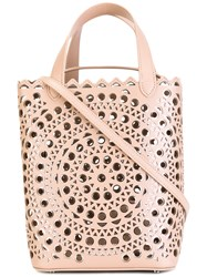 Azzedine Alaia Cut Out Pattern Tote Nude Neutrals