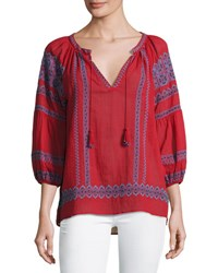Joie Gauge Embroidered Peasant Top Red