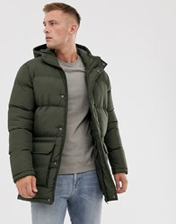 French Connection Longline Padded Hooded Parka Green