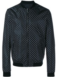 Dolce And Gabbana Reversible Polka Dot Bomber Jacket Black