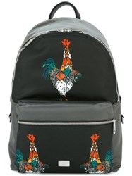 Dolce And Gabbana Volcano Rooster Print Backpack
