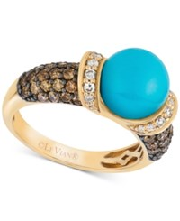 Le Vian Robin's Egg Turquoise 3 4 Ct. T.W. And Diamond 7 8 Ct. T.W. Ring In 14K Gold Blue