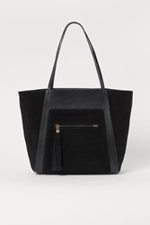Handm H M Suede Detail Shopper Black