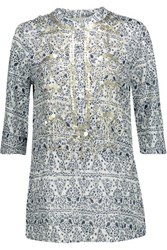 Figue Jasmine Sequin Embellished Printed Cotton Broadcloth Tunic White