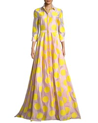 Carolina Herrera 3 4 Sleeve Dot Print Fil Coupe Trench Gown Pink Yellow