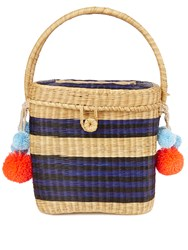 Sophie Anderson Cinto Striped Wicker Basket Bag Black Navy