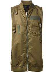 Monomania Asymmetrical Zipped Gilet Green