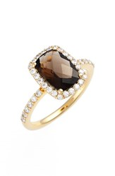 Women's Lafonn 'Aria' Rectangle Cushion Cut Ring Gold Smokey Quartz