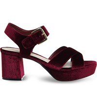 Office Montana Velvet Platform Sandals Burgundy Velvet