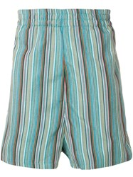 Paura Stripe Embroidered Shorts Green