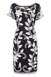 Roman Originals Tapework Embroidered Lace Dress Navy