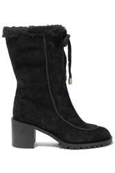 Jimmy Choo Buffy 65 Shearling Lined Suede Boots Black
