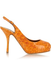 Giuseppe Zanotti Croc Effect Patent Leather Pumps Orange